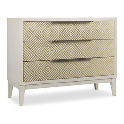 Hooker Furniture - Melange Effervescent Chest - An alluring geometric kaleidoscope design makes the Effervescent Chest unforgettable.  Three drawers with wallpapered interior.