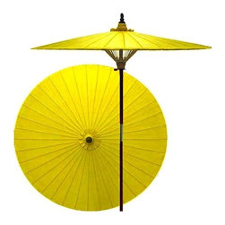 Oriental Unlimited - 7 ft. Tall Lemon Patio Umbrella - Handcrafted and hand-painted by master artisans. 100% Waterproof and extremely durable. Umbrella shade can be set at 2 different heights, 1 for maximum shade coverage and the other for a better view of the shade. An optional base, which secures the umbrella rod and shade against strong winds and rain. Patio umbrella rod and base is constructed of stained oak hardwood for a rich look and durable design. Umbrella shade is made of oil-treated cotton. Minimal assembly required. Canopy: 76 in. D x 84 in. HProtection from evil and blessings are attributed to yellow in Oriental lore. Spice up your outdoor area and gain good luck at the same time with this vibrant yellow patio umbrella.