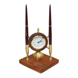 ecWorld - Nautical Themed Clock and Pen Desk Set Office Acessory - This handsome clock offers timeless charm, while keeping you on time. Crystal-encased round dial features Roman numeral indices; it is the perfect piece to compliment your desk!