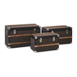 "IMAX CORPORATION - Schultz Trunks - Set of 3 - Schultz Trunks. Set of 3 trunks in varying sizes measuring approximately 12-14-25-16.5""H x 11-13.5-16""W x 19.75-23.75-27.5"" each. Shop home furnishings, decor, and accessories from Posh Urban Furnishings. Beautiful, stylish furniture and decor that will brighten your home instantly. Shop modern, traditional, vintage, and world designs."