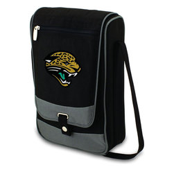 """Picnic Time - Jacksonville Jaguars Barossa Wine Tote in Black - The Barossa is so sleek and sophisticated, you'll want to take it with you every chance you get. It's made of 600D polyester and features an adjustable shoulder strap that makes it easy to carry and a flat zippered pocket on the exterior flap. The Barossa is fully insulated to keep your wine the perfect temperature and has a divided interior compartment to separate your bottle of wine from the 2 (8 oz.) acrylic wine glasses included. Also included are: 1 stainless steel waiter style corkscrew, 1 bottle stopper (nickel-plated), and 2 napkins (100% cotton, 14 x 14"""", Black with silver pinstripe). The Barossa wine tote is perfect for picnics, concerts, or travel and makes a wonderful gift for those who enjoy wine.; Decoration: Digital Print; Includes: 9 stainless steel waiter style corkscrew, 1 bottle stopper (nickel-plated), and 2 napkins (100% cotton, 14 x 14"""", Black with silver pinstripe)"""