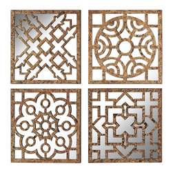 Sterling Lighting - Sterling Lighting Set Of Mirrored Wall Panels - This Set Of 4 Mirrored Wall Panels Are Formed From Metal Pierced In Traditional Moorish Patterns. Mirrored Backs Reflect Light And Create Ambience.