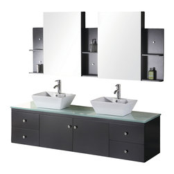 "Design Element - Double Sink Vanity Set - Design Element Dec071B Portland 72"" Espresso Finish Double Sink Vanity Set"