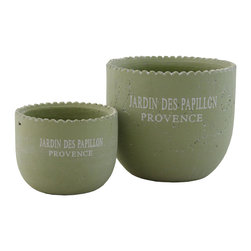 "Selectives - Pap Small Decorative Planters, Set of 2 - Here are 2 small green ceramic round planters that can add a cottage taste to any home or office without taking too much space.  Be creative and put your own little plants in to make them a unique decoration.  Product dimensions: Large- 7""dia x 6""H; Small- 5""dia x 4""H"