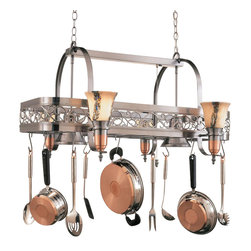 Hi-Lite MFG - Odysee 6-Lite Pot Rack in Satin Steel and Copper Finish - Includes six pot rack hooks. Accessories and bulbs not included. UL listed. White odysee glass. Six 100W MED INC for lamps. Made from steel. 36 in. L x 29 in. W x 21 in. HHi-Lite achieved success through attention to detail and stubbornness to only manufacturer the highest quality product. Hi-Lite has built its reputation as a premier lighting manufacturer by using only the finest raw materials, inspirational designs, and unparalleled service. This allows us great flexibility with our designs as well as offering you the unique ability to have your custom designs brought to Light.