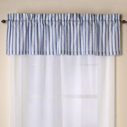 C & F Enterprises, Inc. - Nantucket Dreams Window Valance - You'll feel like your floating on a cloud with the Nantucket Dreams window valance in white stripes and lush blue patterns that bring to mind the serenity of the sky. Coordinates with the Nantucket Dreams quilt.