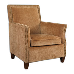 Uttermost - Amani Nailhead Armchair - A beautiful blend of plush and sculpted gold fabrics with double nailhead trim accents come together to create this high-fashion accent chair. But with all this attention to detail, it all comes down to you having a clean-lined, subtly colored, cozy armchair that complements your style.