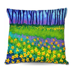 DiaNoche Designs - Pillow Woven Poplin - Spring Daffs II - Toss this decorative pillow on any bed, sofa or chair, and add personality to your chic and stylish decor. Lay your head against your new art and relax! Made of woven Poly-Poplin.  Includes a cushy supportive pillow insert, zipped inside. Dye Sublimation printing adheres the ink to the material for long life and durability. Double Sided Print, Machine Washable, Product may vary slightly from image.