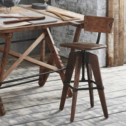Phineas  Corkscrew Stool with Back - Bold blackened steel hardware emphasizes the vintage feel of our Phineas Stool with Back. Natural variations of grain and tone within recycled mahogany make each piece unique. Industrial Stools adjust and swivel.
