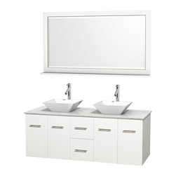 """Wyndham Collection - Centra 60"""" Matte White DBL Vanity,Carrera Marble Top, WT Porcelain Sinks,58"""" Mrr - Simplicity and elegance combine in the perfect lines of the Centra vanity by the Wyndham Collection. If cutting-edge contemporary design is your style then the Centra vanity is for you - modern, chic and built to last a lifetime. Available with green glass, pure white man-made stone, ivory marble or white carrera marble counters, with stunning vessel or undermount sink(s) and matching Mrr(s). Featuring soft close door hinges, drawer glides, and meticulously finished with brushed chrome hardware. The attention to detail on this beautiful vanity is second to none."""