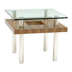 BDI - Hokkaido End Table - Elegant and sculptural, the eye-catching Hokkaido End Table by BDI combines metal, wood grain, and glass. The glass top looks are though it is floating about the geometric cut-out middle shelf. The chrome legs finish of the accent table, which would be perfect in a modern home or office. Choose between 3 color wood finishes.
