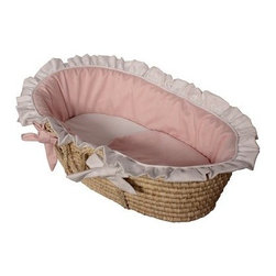 Hoohobbers Moses Basket - Baby Pink - Your little princess will nap prettily in pink indeed inside the Hoohobbers Moses Basket - Baby Pink a frilly feminine sleep spot with practical portability. Crafted with durable woven material and sturdy side handles this Moses basket is lined with super-soft long-lasting bedding in 100% cotton flannel - a bumper sheet plus cushion and double-sided blanket are included all in soft pink and bright white tones. Both the basket and bedding is machine washable for easy care. Simply remove the formed bumper insert to ensure it holds its shape gently wash and dry the cover with the other pieces and slip the insert back inside the freshly laundered cover. Suggested use for newborns.About HoohobbersBased in Chicago Hoohobbers has designed and manufactured its own line of products since 1981 beginning with the now-classic junior director's chair. Hoohobbers makes both hard goods (furniture) and soft goods. Hoohobbers' hard goods are not your typical furniture products; they fold are lightweight and portable and are made to be carried by children all around the house. Even outdoors Hoohobbers' hard goods are 100 percent water-safe. At the same time they are plenty durable and can take the abuse children often give. Hoohobbers' soft goods are fabric items ranging from bibs to bedding from art smocks to Moses baskets.Hoohobbers' products are recognized by independent third parties for their quality and performance. Hoohobbers has received Best Design Awards from America's Juvenile Products Association each time selected from more than 20 000 products. Hoohobbers has also received the Parents' Choice Award and no Hoohobbers product has ever been subject to consumer recall. Furthermore the company's products are often featured in leading women's and children's publications.