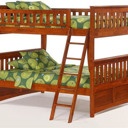 Night & Day Furniture - Full Over Full Size Bunk Bed In Cherry Finish - Kid's full size bunk beds in cherry finish are roomier than twin size so they're great for the child who's a bit older. Slat headboards and footboards plus solid panels on the bottom bunk. Quality wood construction for durability. 100% Malaysian Rubberwood construction. Bed includes full upper and lower headboard/footboard, full rails and full slatsDimensions. Drawer Set: 25 in. W x 44 in. D x 4 in. H. Trundle Face and rails: 10 in. W x 77 in. D x 3 in. H. Trundle Slats: 6 in. W x 40 in. D x 5 in. HThe Spices Bedroom Collection is our rich group of Beds, Case Goods and Accessories that brings with it a few delightful tangy twists. You can shape and style any bedroom to suit your needs and taste.