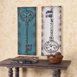 Southern Enterprises - Antique Key Decorative Wall Panels - 12.5W x 31.25H in. each - Set of 2 Multicol - Shop for Wall Decor from Hayneedle.com! The keys to happiness. Maybe that's a bit grand but these Antique Key Decorative Wall Panels - 12.5W x 31.25H in. each - Set of 2 are super stylish and fun. Distressed metal panels are embossed with antique skeleton keys for a vintage look perfect for your space. You get one blue and one white each come with hanging hooks for easy installation.About SEI (Southern Enterprises Inc.)This item is manufactured by Southern Enterprises or SEI. Southern Enterprises is a wholesale furniture accessory import company based in Dallas Texas. Founded in 1976 SEI offers innovative designs exceptional customer service and fast shipping from its main Dallas location. It provides quality products ranging from dinettes to home office and more. SEI is constantly evolving processes to ensure that you receive top-quality furniture with easy-to-follow instruction sheets. SEI stands behind its products and service with utmost confidence.