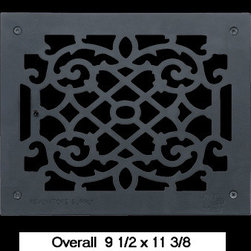 Black Aluminum Air Grille - The period style scroll design make these floor registers perfect for any home restoration. Made of cast aluminum, they are rustproof & maintenance-FREE.