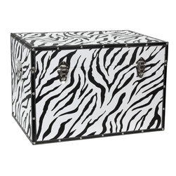 Art Furniture - Side tables, Chests, Trunks, Nightstands - High definition zebra stripe pattern printed on natural canvas