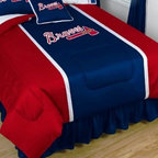 Sports Coverage - MLB Atlanta Braves Sidelines Bedding - Comforter - Full - MLB Atlanta Braves Sideline Comforter looks and feels like a real jersey! A must have for any true fan. New Design - Same great quality! Show your team spirit with this great looking officially licensed Comforter which comes in a new style: Covers are 100% Polyester Jersey top side and Poly/Cotton bottom side, filled with 100% Polyester Batting. Logos are screenprinted. Machine washable in warm water, and tumble dry on low heat. Each comforter has the team logo centered on solid background in team colors. 5.5 oz. Bonded polyester batts. Looks and feels like a real jersey!