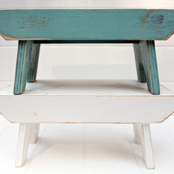 Vintage Style Step Stool - This is a hand crafted, new step stool fashioned after a vintage find. Each step stool is unique depending on the age and texture of wood. Artisans hand make and paint each step stool to order. Each one is weathered and rubbed with Linseed Oil after completion to give them a smooth aged look.