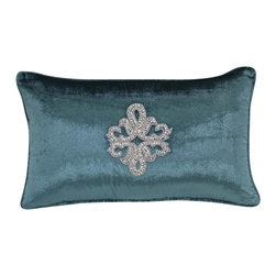VIG - Modrest Turquoise Elegant Faux Crystal Throw Pillow, Blue - Modrest Turquoise Elegant Faux Crystal Throw Pillow