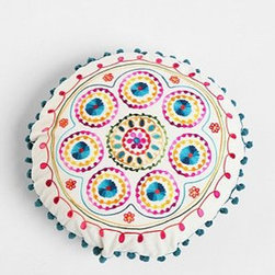 Samsara Round Embroidered Pillow - This embroidery work has a Mexican-inspired flair that is so bright and cheerful. Some potted succulents and votive candles would complement this pillow perfectly.