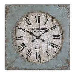 UTTERMOST - Uttermost Paron Square Wall Clock - Rustic, hand forged metal frame finished in black with aged blue accents and an antiqued clock face.