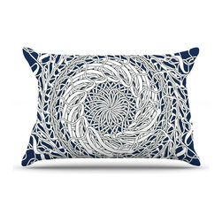 "Kess InHouse - Patternmuse ""Mandala Spin Navy"" Blue White Pillow Case, King (36"" x 20"") - This pillowcase, is just as bunny soft as the Kess InHouse duvet. It's made of microfiber velvety fleece. This machine washable fleece pillow case is the perfect accent to any duvet. Be your Bed's Curator."