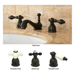 None - Mini-Widespread Double-Handle Oil-Rubbed-Bronze Bathroom Faucet - This low profile oiled bronze faucet extends just five inches above the countertop. Whether its a remodel or a refresh, the oil rubbed finish creates an elegant look in any bathroom and pairs nicely with a variety of countertop and sink finishes.