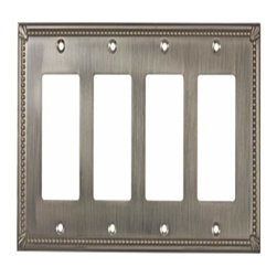 Richelieu Hardware - Richelieu Contemporary  Switch Plate 4 Toggle 218X123mm Brass - Richelieu Contemporary  Switch Plate 4 Toggle 218X123mm Brass
