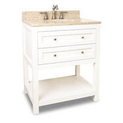 "Hardware Resources - Elements Bathroom Vanity - This 30"" wide solid wood vanity features clean lines with a stepped drawer profile for a modern look. The Cream White finish is soft to complement most decor, yet bold enough to make a statement. Two fully working drawers, fitted around the plumbing, and open bottom shelf gives this vanity ample storage. Drawers are solid wood dovetailed drawer boxes fitted with full extension soft close slides. This vanity has a 2.5CM engineered Emperador Light marble top preassembled with an H8809WH (15"" x 12"") bowl, cut for 8"" faucet spread, and corresponding 2CM x 4"" tall backsplash. Overall Measurements: 30"" x 22"" x 36"" (measurements taken from the widest point) - Faucet must be purchased separately"