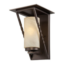 Designers Fountain - Designers Fountain Parkview Transitional Outdoor Wall Sconce X-ZBF-13913SE - Clean lines and a modern cylindrical shade add interest and flair to this Designers Fountain outdoor wall sconce. From the Parkview Collection, the shade is made from an elegant tea stained French swirl glass. To pull the look together, a rich Flemish Bronze finish has been used.