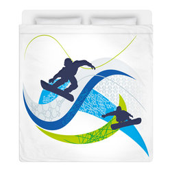 Eco Friendly Snowboard Queen Size Sheet Set - Get Extremely Stoked and Dream In Extreme with Our Snowboard Queen Size Sheet Set is made of a lightweight microfiber for the ultimate experience in softness~ extremely breathable!