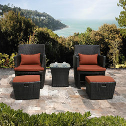 Sirio - Bandio 5-piece Resin Wicker Outdoor Furniture Set - Take time,relax and enjoy the comfort,durability and style of the Bandio outdoor furniture set by Sirio. You'll love the two chairs,two ottomans and how they complement each other and it gets even better with the handy side table.