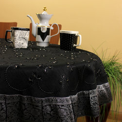 "Unique & DecorativeTablecloths - ""Mystic Black"" with Silver border. 53"" Round tablecloth. Hand crafted in India. Dupion silk fabric. Transform your table tops into a display of art."