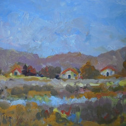 """""""Summer Blues"""" Artwork - This lovely little landscape is 9 by 12 inches. It was painted very recently in 2012. It would look very nice in wide gold frame."""