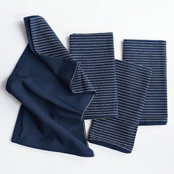 Navy Dash Patterned Napkins - Simple stitched striping adds a hint of subtle pattern to the table.
