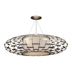 Fine Art Lamps - Allegretto Silver Pendant, 798640ST - Design buffs will go gaga over this artful homage to midcentury design. It's all here, from the perforated metal grillwork to the classic flying-saucer shape. The gold- or silver-leaf finish is accented with subtle brown highlights and is paired with a textured linen shade to keep the lighting mellow while you're mixing up the martinis.