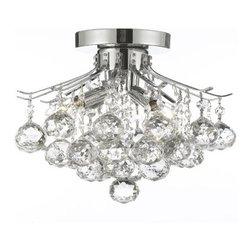 """The Gallery - French Empire Crystal Chandelier Chandeliers Lighting H8"""" X W12"""" - 100% CRYSTAL CHANDELIER, this Empire chandelier is characteristic of the grand chandeliers which decorated the finest Chateaux and Palaces across Europe and reflects a time of class and elegance which is sure to lend a special atmosphere in every home.   Size: H 8"""" x W12"""" 4 LIGHTS"""