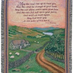 `Blessing of Ireland` Tapestry Throw Blanket 50 Inch X 60 Inch - This multicolored woven tapestry throw blanket is a wonderful addition to any home. Made of cotton, the blanket measures 50 inches wide, 60 inches long, and has approximately 1 1/2 inches of fringe around the border. The blanket features an Irish country landscape print, with an Irish blessing printed above. Care instructions are to machine wash in cold water on a delicate cycle, tumble dry on low heat, wash with dark colors separately, and do not bleach. This comfy blanket makes a great gift for friends and family.