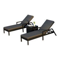 Forever Patio - Urbana 3 Piece Wicker Chaise Lounge Set, Charcoal Cushions - The Harmonia Living Urbana 3 Piece Rattan Patio Chaise Lounge Set with Gray Sunbrella cushions (SKU HL-URBNWS-3RCLS-CC) brings comfort and style to your outdoor space. Each chaise is constructed with durable, thick-gauged aluminum frames which are protected by a powder coating for superior corrosion resistance. The wicker is made of High-Density Polyethylene (HDPE) with its Coffee Bean color and UV resistance infused into the strands themselves. This creates a rich wicker color that holds up incredibly well with age.Thick, comfy cushions are covered in Canvas Charcoal fabric by Sunbrella, the industry leader in mildew- and fade-resistant outdoor fabric. This chaise adheres to the highest quality standards for modern patio furniture in the market today, meaning it will last for years to come.