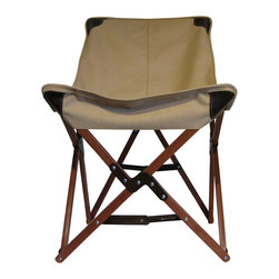 Tripolina Chair, Tan, Canvas - La Tripolina, originally designed and made for British military troops in North Africa in the late 1800's, was the inspiration for the classic BKF butterfly chair, steeped in design history. Light weight and fully collapsible, comfortable and stylish. This chair is available in cover materials of weather resistant canvas, handsome and durable leather or cowhide, and in a selection of colors. The frame is available in dark brown, cherry or clear finish. We suggest to call or email to see what we have in stock before ordering.