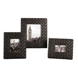Uttermost - Maulana Black Woven Photo Frame Set of 3 - Woven, Faux Leather Straps Finished With A Weathered, Dark Coffee Stain And A Light Tan Glaze. Holds Photo Sizes: 4x6,5x7,8x10. Frames Sizes: Sm-10x12x2, Med-11x13x2, Lg-14x16x2