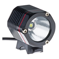 10W LED Bicycle Headlight and Headlamp - 10W High Power LED Bicycle Headlight and Headlamp Flashlight with 1000 lumen CREE XM-L T6 LED. Rechargeable Lithium ion battery lasts 180 minutes on full brightness setting. 4 settings availble (High/Mid/Low/Strobe). Includes rechargeable 18650 Li-ion battery (4400mAh), battery charger, headlamp strap, manual, and 2 o-rings for mounting to various sized frames and bars.