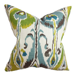 The Pillow Collection - Gundrun Blue and Green 18 x 18 Ikat Throw Pillow - - Pillows have hidden zippers for easy removal and cleaning  - Reversible pillow with same fabric on both sides  - Comes standard with a 5/95 feather blend pillow insert  - All four sides have a clean knife-edge finish  - Pillow insert is 19 x 19 to ensure a tight and generous fit  - Cover and insert made in the USA  - Spot clean and Dry cleaning recommended  - Fill Material: 5/95 down feather blend The Pillow Collection - P18-ROB-IKATBANDS-RAIN-C100