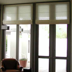 Motorized Roman Shades - Sheer silk sewn-in-pleat Roman shades