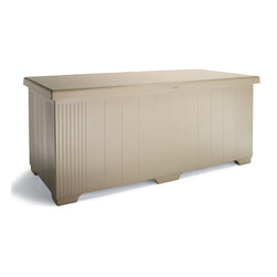 Frontgate - Outdoor Patio Storage Chest - Crafted of Envirez, a durable bioresin made from natural materials. Benches are made from a petroleum-based composite. Catalyzed gloss finish with UV gelcoat is rustproof and never needs painting. Supports the weight of 3 to 4 adults. Stainless-steel hinges and hydraulic lift ensure an easy open and soft close. Use our Outdoor Patio Storage Chests to unclutter your patio and easily store pool floats, furniture cushions, garden tools, or sports equipment. Our marine-grade storage chests are rugged enough to keep outdoors year-round and sturdy enough to double as benches. See how our patio storage chests surpass others.  . .  .  .  . Reinforced keep water out and interior contents dry . Off-ground design allows ventilation . Drainage holes on bottom keep contents dry . Arrives fully assembled . Please allow 3 weeks for delivery . Made in the USA.