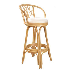 Hospitality Rattan - Hospitality Rattan Valencia Rattan & Wicker Natural Swivel Counter Height Stool - Add some elegance and sophistication to your home bar with The Valencia Counter stool. This traditional wicker and rattan swivel barstool is built with solid rattan pole construction. The Valencia Collection offers three basic finishes Antique Natural and Whitewash. The counter stools feature commercial grade reinforced rattan bases swivel mechanisms & reinforced double pole footrests. The stool will come with instructions and requires assembly. This counter stool comes with a comfortable beige cushion as shown. For an upcharge you can choose from your choice of over 35 indoor fabrics with a variety of colors and patterns to match your decor. The Valencia Counter stool is a gorgeous addition to any home. Since 2000 Hospitality Rattan has been designing and distributing contract quality rattan wicker and bamboo furnishings. A variety of indoor and outdoor collections derived from the best possible materials is available for the furniture buyer who wants that tropical feel. Features include Includes cushion with fabric as shown Swivel Mechanism Included Constructed of commercial quality rattan poles Requires Some Assembly (Instructions Included). Specifications Finish: Natural Material Type: Rattan Poles & Woven Wicker.