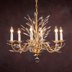 Six-light Chandelier on a Gilded Hand-Wrought Iron Frame