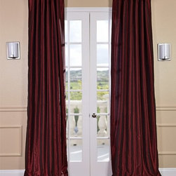 Ruby Vintage Textured Faux Dupioni Silk Curtain - Our Vintage Textured Faux Silk curtains & drapes have a slight sheen that mimics the finest texture of silk dupioni. These curtains bring the look of luxury without the cost or high-maintenance care. Built-in are two header designs within a single panel. The attached back tabs for a formal pleated look and a traditional pole pocket.