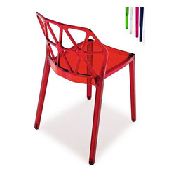 Calligaris - Alchemia Modern Chair (Set of 2) - Modern, brightly colored chair. Striking backrest design composed of cut-out triangles resembling the structure of an atom. Technopolymer monoblock made using the Airmoulding process makes Alchemia an extremely sturdy, lightweight and easy to clean chair. Stackable up to 6 chairs high. Assembly required. Seat height: 17.75 in.. 19.5 in. W x 20.125 in. D x 31.125