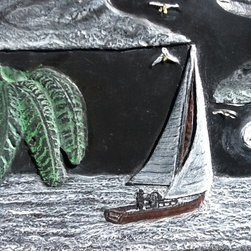 Sailing Holiday - A loan captain sails off into the moonlight from a tropical island.  The waves glisten in white from the moonlight cast.  Seagulls fly above the sailboat.  Only thing left on the tropical isalnd are the footprints in the sand.